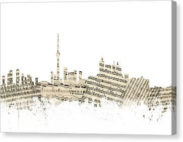Toronto Canada Skyline Sheet Music Cityscape Canvas Print by Michael Tompsett