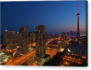 Toronto City At Dusk With Cn Tower Canvas Print by Jaynes Gallery