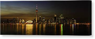 Toronto Evening Sky Line Panorama Canvas Print by Peter v Quenter