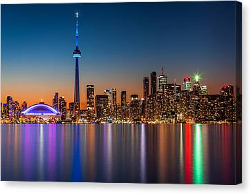 Canvas Print featuring the photograph Toronto Skyline At Dusk by Mihai Andritoiu