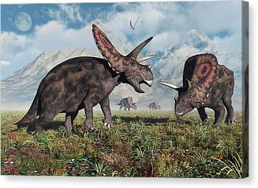Four Animal Faces Canvas Print - Torosaurus Dinosaurs During Earths by Mark Stevenson