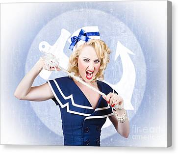 Tough Pin-up Sailor Breaking Rope. Navy Seal Canvas Print by Jorgo Photography - Wall Art Gallery