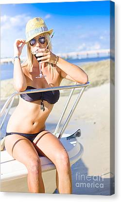 Tourist On Summer Vacation To Tropical Paradise Canvas Print