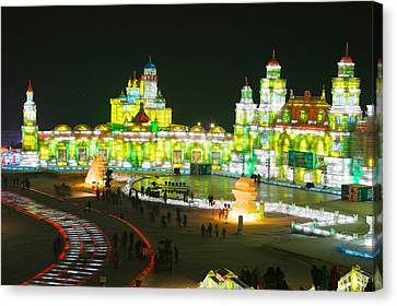 Tourists At The Harbin International Canvas Print by Panoramic Images