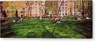 Tourists In A Park, Washington Square Canvas Print by Panoramic Images
