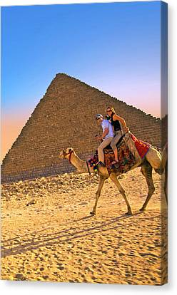 Tourists Ride A Camel In Front Canvas Print