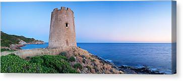 Tower At The Seaside, Saracen Tower Canvas Print by Panoramic Images