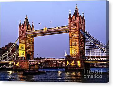 Tower Bridge In London At Dusk Canvas Print by Elena Elisseeva
