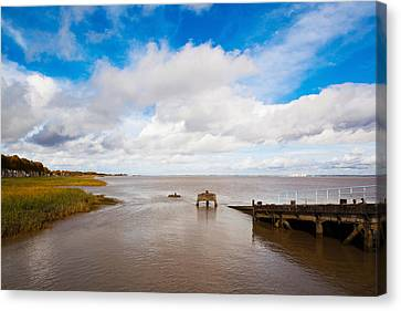Town Pier On The Gironde River Canvas Print by Panoramic Images