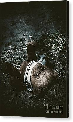 Toy Teddy Bear Lying Abandoned In A Dark Forest Canvas Print by Jorgo Photography - Wall Art Gallery