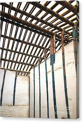 Bamboo House Canvas Print - Traditional Chinese Bamboo Structure by Yali Shi
