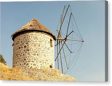 Traditional Greek Cloth Sailed Windmills Canvas Print by Ashley Cooper