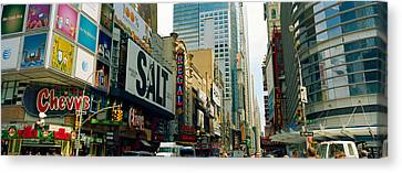 Traffic In A City, 42nd Street, Eighth Canvas Print by Panoramic Images
