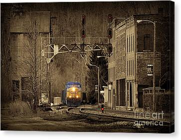 Train At Thurmond Wv Canvas Print by Dan Friend