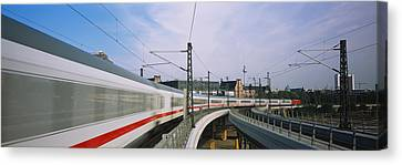 Train On Railroad Tracks, Central Canvas Print by Panoramic Images