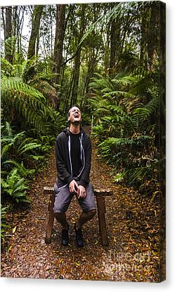 Travel Man Laughing In Tasmania Rainforest Canvas Print by Jorgo Photography - Wall Art Gallery