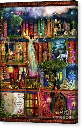 Asia Canvas Print - Treasure Hunt Book Shelf by Aimee Stewart