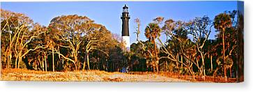 Trees Around A Lighthouse, Hunting Canvas Print