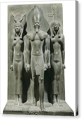 Triad Of Menkaure Mycerinus Canvas Print by Everett