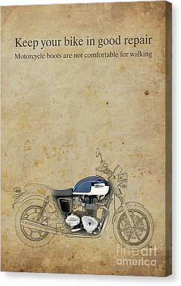 Triumph Motorcycle Quote Canvas Print by Pablo Franchi