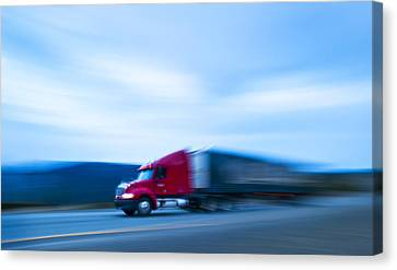 Truck On Motorway Canvas Print by Science Photo Library