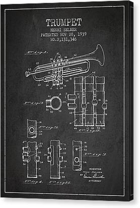 Trumpet Patent From 1939 - Dark Canvas Print by Aged Pixel