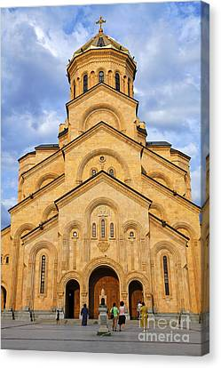 Tsminda Sameba Cathedral Tbilisi Canvas Print by Robert Preston