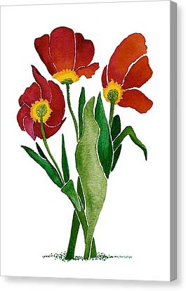 Canvas Print featuring the painting Tulip Trio by Nan Wright