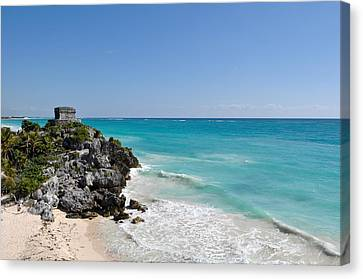Tulum Mexico Coastal Mayan Ruin Canvas Print by Brandon Bourdages