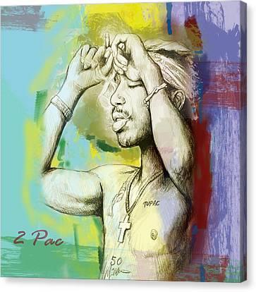Tupac Shakur Long Stylised Drawing Art Poster Canvas Print by Kim Wang