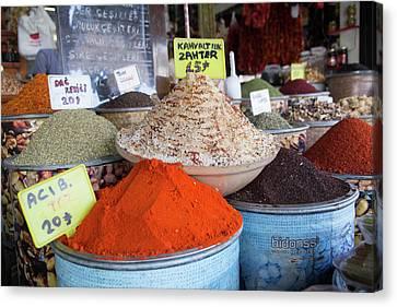 Turkey, Gaziantep, Medina, Spice Market Canvas Print by Emily Wilson