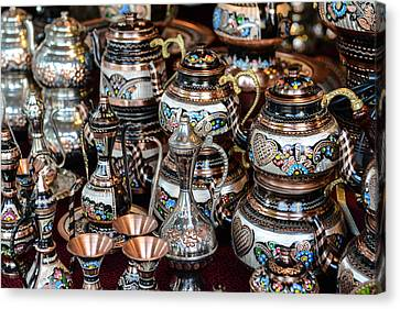 Turkish Teapots For Sale In Istanbul Turkey Canvas Print