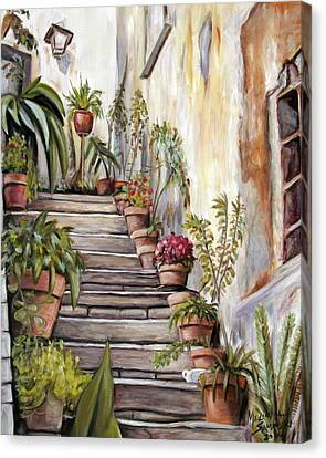 Canvas Print featuring the painting Tuscan Steps by Melinda Saminski