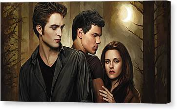 Twilight  Kristen Stewart And Robert Pattinson Artwork 2 Canvas Print by Sheraz A
