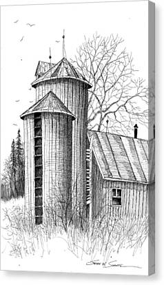 Barn Pen And Ink Canvas Print - Twin Silos by Steven Schultz