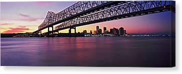 Mississippi River Canvas Print - Twins Bridge Over A River, Crescent by Panoramic Images