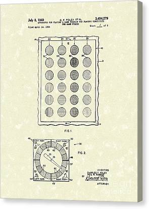Game 1969 Patent Art Canvas Print by Prior Art Design