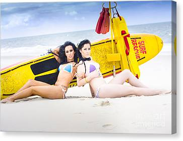 Two Beautiful Women Together On Beach Canvas Print by Jorgo Photography - Wall Art Gallery