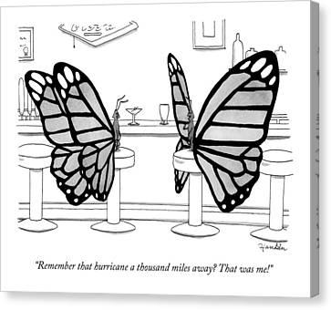 Two Butterflies Talking In A Bar Canvas Print