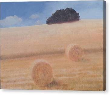 Two Hay Bales, 2012 Acrylic On Canvas Canvas Print