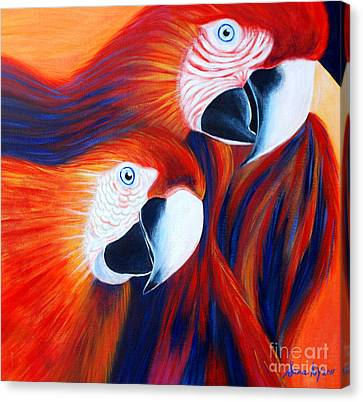 Two Parrots. Inspirations Collection. Canvas Print by Oksana Semenchenko