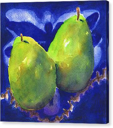 Two Pears On Blue Tile Canvas Print