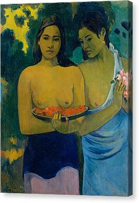 Two Tahitian Women Canvas Print by Paul Gauguin