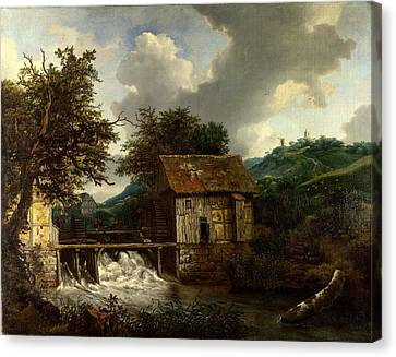 Two Watermills And An Open Sluice At Singraven Canvas Print by Celestial Images