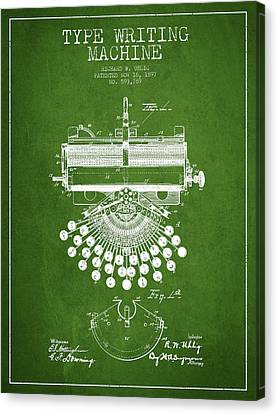 Type Writing Machine Patent Drawing From 1897 - Green Canvas Print by Aged Pixel