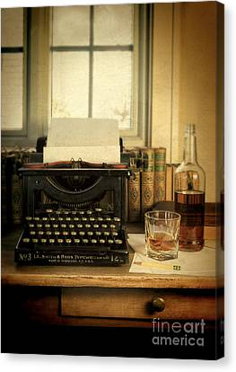 Typewriter And Whiskey Canvas Print by Jill Battaglia