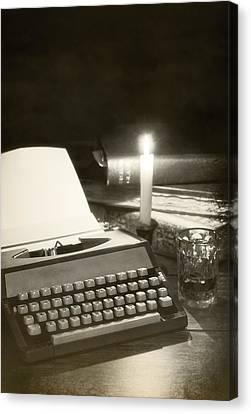 Typewriter By Candlelight Canvas Print by Amanda Elwell