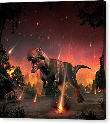 Tyrannosaurs Fleeing A Hail Of Meteorites Canvas Print by Mark Garlick