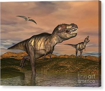 Tyrannosaurus Rex Dinosaurs Canvas Print by Elena Duvernay