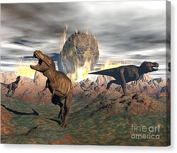 Tyrannosaurus Rex Dinosaurs Escaping Canvas Print